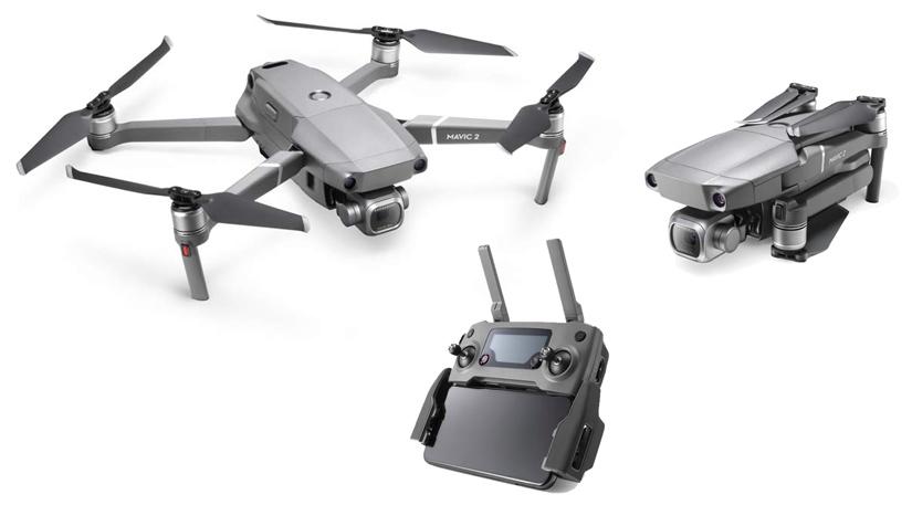 DJI Mavic 2 Pro Drone showing folding and controller