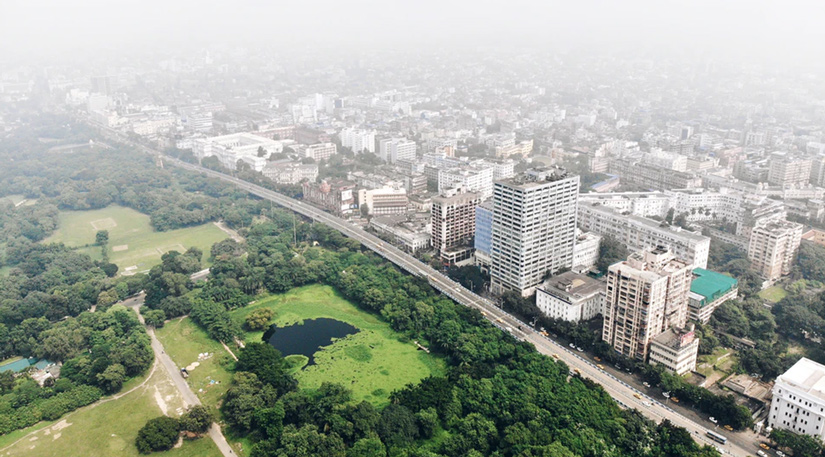 A drone shot of India