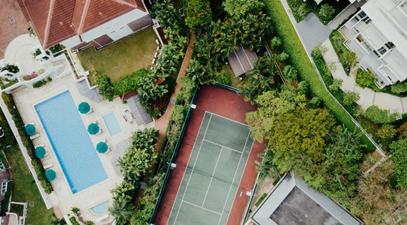 An aerial shot of a back garden
