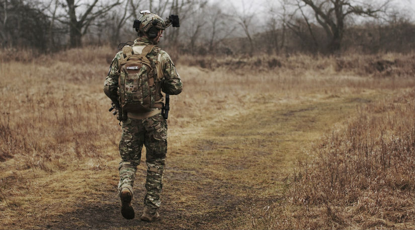 A soldier in a field