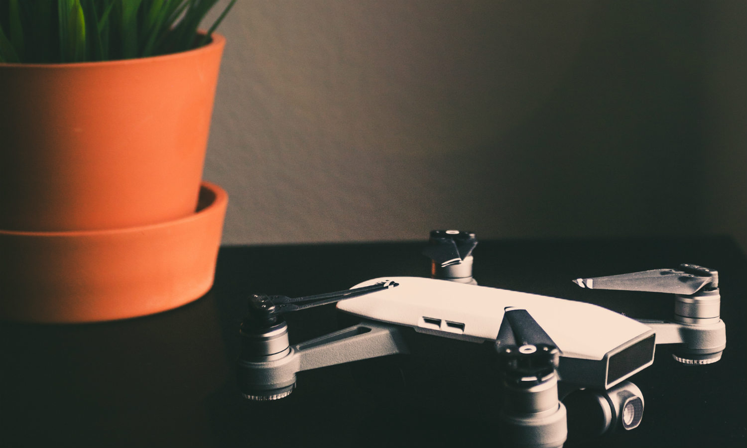 A drone inside on the table