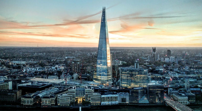 An aerial shot of The Shard in London